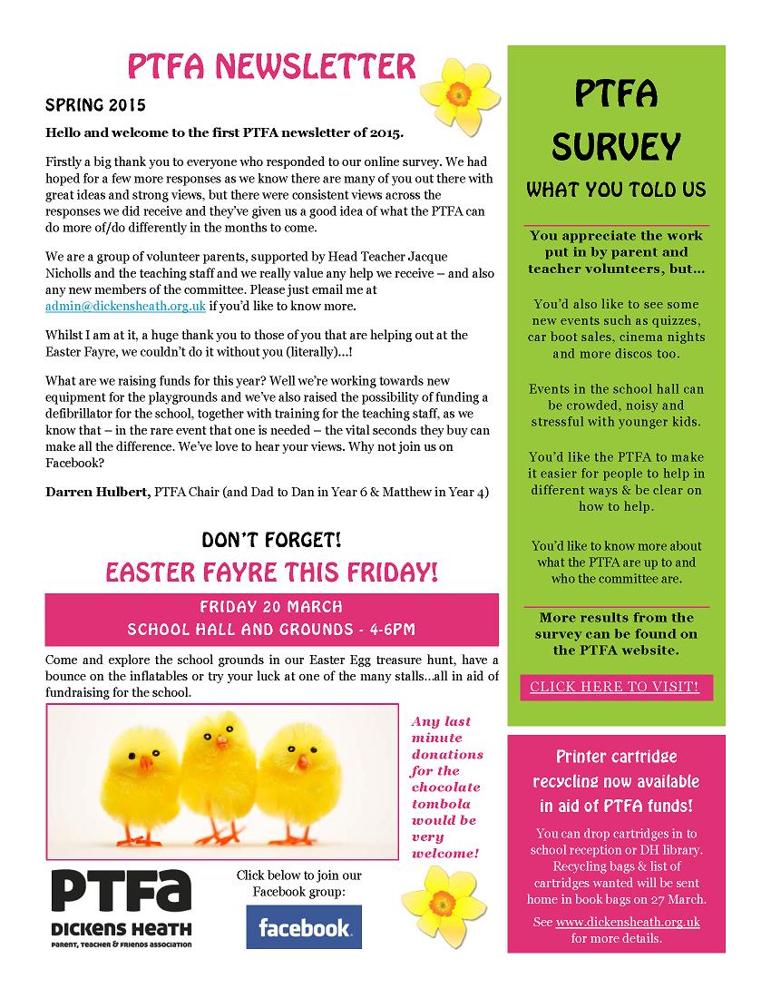 Spring newsletter dickens heath school ptfa for Spring newsletter template